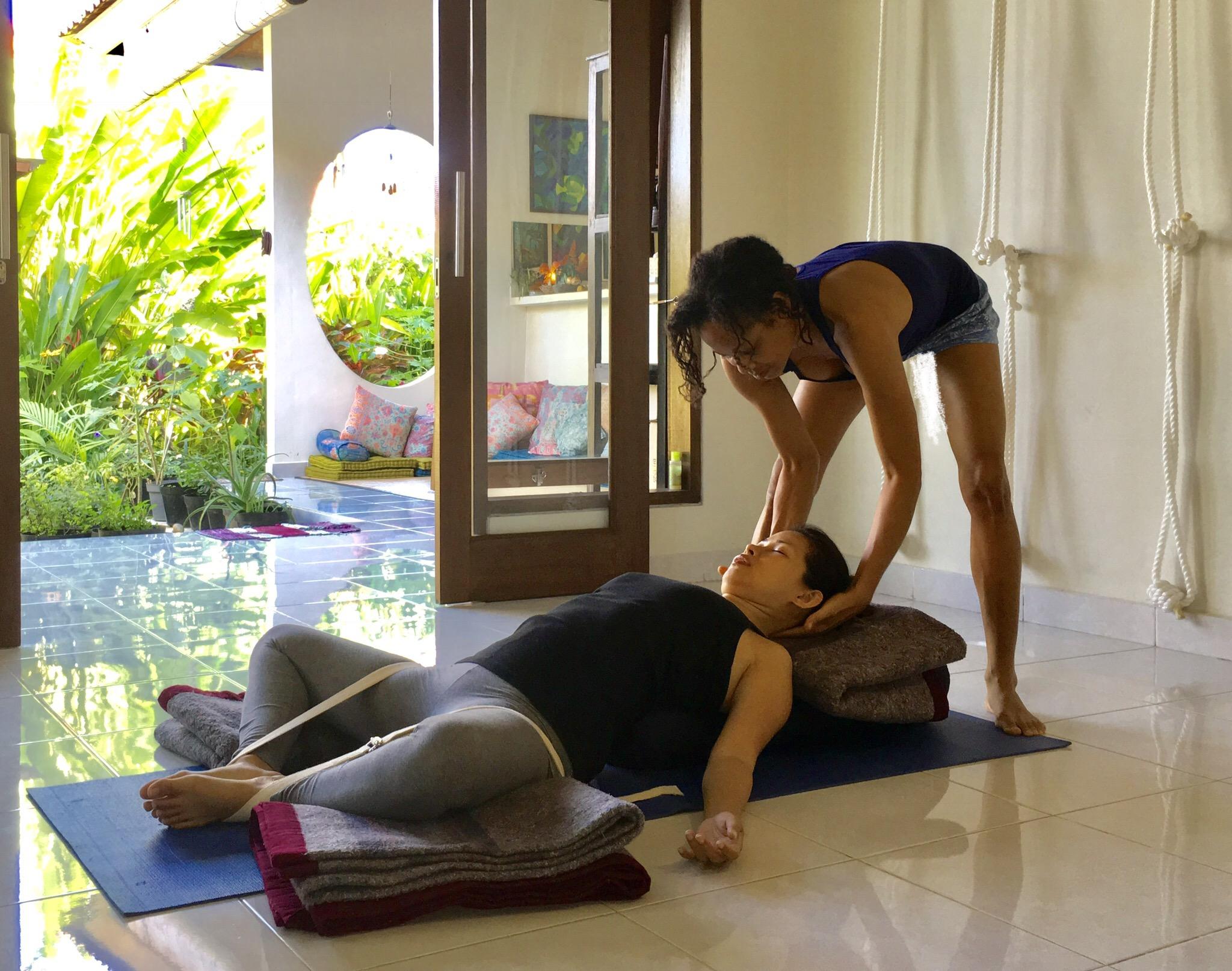 Supta Baddhakonasana Maya Iyengar Yoga Body Mind Soul Retreat